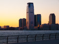 Jersey city view of the skyline of from manhattan Stock Images