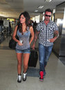 Jersey Shore girl Jwow with boyfriend at LAX Royalty Free Stock Photography