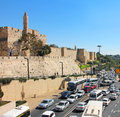 Jerusalem busy traffic city on derech hebron next to the tower of david in israel Royalty Free Stock Photography