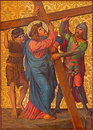Jerusalem the christ carries his cross paint in armenian church of our lady of the spasm from end cent by unknown artist as part Royalty Free Stock Images