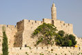 Jerusalem citadel king david tower and old wall Stock Images
