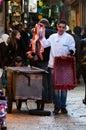 Jerusalem, December 2012: Young butcher trades meat in Jerusalem souk