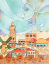 Jerusalem with doves watercolor illustration of old flying in a stylized sky Royalty Free Stock Images