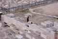 JERUSALEM, ISRAEL - 27 FEB 2017 - Jew praying at the Mount of Olives Jewish Cemetery Royalty Free Stock Photo