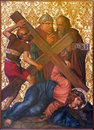 Jerusalem the jesus fall in armenian church of our lady of the spasm israel march under cross paint from end cent by unknown Stock Photos