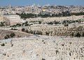 Jerusalem jewish cemetery and jerusalm old town cityview from the mount of olives israel Stock Photography