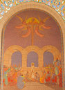 Jerusalem judgment of jesus before sanhedrin mosaic in church of st peter in gallicantu the Stock Photo