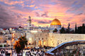 Jerusalem old city at temple mount skyline of the he western wall and in israel Royalty Free Stock Photo