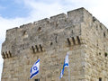 Jerusalem old city walls israel Stock Image