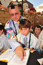 Jerusalem sep bar mitzvah ritual at the wailing wall on september in jerusalem israel boy who has become a bar mitzvah is morally Stock Photography