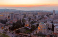 Jerusalem before sunrise aerial view of israel Stock Photos
