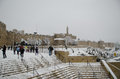 Jerusalem walls during snowfall Stock Images