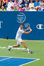 Jerzy janowicz plays center court at the winston salem open during a loss to lukas rosol in sets Stock Photos