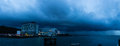 Jesselton point jetty nightview panoramic before the heavy rain Stock Photo