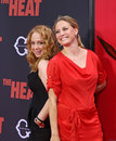 Jessica chaffin and jamie denbo funny girls who appear in the film the heat arrive on the red carpet at the ziegfeld theatre for Royalty Free Stock Photography
