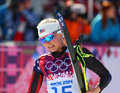 Jessica diggins sochi russia february at the finish of ladies skiathlon km classic km free of sochi xxii olympic winter games Stock Image