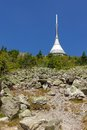 Jested in summer the highest mountain peak with a transmission tower liberec czech republic Stock Images