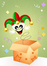Jester in the box illustration of funny joker cartoon Royalty Free Stock Images