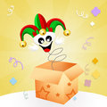 Jester in the box illustration of funny joker cartoon Royalty Free Stock Photo
