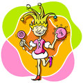 Jester girl princess buffoon with a tambourine and a lollipop Stock Photography