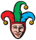 Jester head smiling joker face Royalty Free Stock Photos