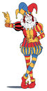 Jester taking a bow in colorful costume Royalty Free Stock Images