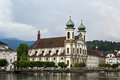 Jesuit church lucerne in is the first large baroque built in switzerland north of the alps Stock Photos