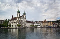 Jesuit church lucerne in is the first large baroque built in switzerland north of the alps Royalty Free Stock Photo
