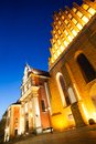 Jesuit church in warsaw downtown poland capital at dusk Royalty Free Stock Photos