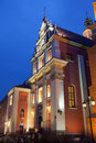 Jesuit Church in Warsaw at Night Royalty Free Stock Images