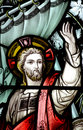 Jesus calming the storm in stained glass a photo of Royalty Free Stock Images