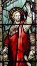 Jesus calming the storm in stained glass Royalty Free Stock Photo