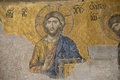 Jesus christ ancient mosaic the image of is the part of the deësis entreaty hagia sophia istambul turkey this is considered as Stock Image