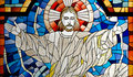 Jesus Christ Church Stained Glass Pane Royalty Free Stock Photo