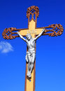 Jesus christ on the cross and blue sky Stock Photos