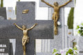 Jesus christ on the cross in a cemetery old with graves spanish holy place Royalty Free Stock Photography