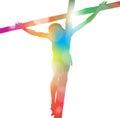 Jesus Christ On Cross In Colou...