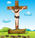 Jesus christ at the cross illustration of Royalty Free Stock Image