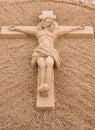 Jesus Christ On The Cross Sand Sculpture.