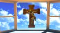 Jesus christ cross seen window Royalty Free Stock Images