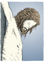 Jesus christ crucified drawing of nailed to the cross Stock Photography