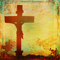 Jesus christ crucified grunge background raster illustration Royalty Free Stock Images