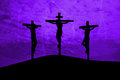 Jesus christ crucified three crosses on a hill Royalty Free Stock Photo