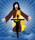 Jesus christ crucifixion and resurrection of is risen Royalty Free Stock Photo