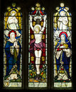Jesus christ crucifixion stained glass window depicting the of Royalty Free Stock Images