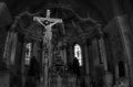 Jesus christ crucify a dramatic black and white artistic photo from in sumuleu church transylvania Stock Image