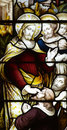 Jesus Christ curing a blind man (stained glass) Royalty Free Stock Photo