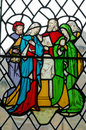 Jesus christ family stained glass window victorian showing with the virgin mary and st joseph together with st martha and other Royalty Free Stock Photography