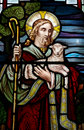 Jesus Christ: The Good Shepherd in stained glass Royalty Free Stock Photo