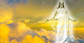 Jesus Christ in Heaven panoramic image Royalty Free Stock Photo